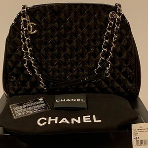 Chanel mademoiselle quilted patent leather handbag